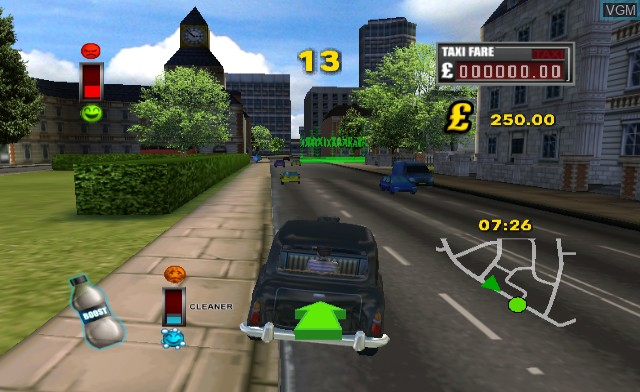 In-game screen of the game London Taxi - Rush Hour on Nintendo Wii