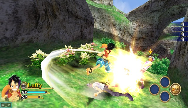 In-game screen of the game One Piece - Unlimited Adventure on Nintendo Wii