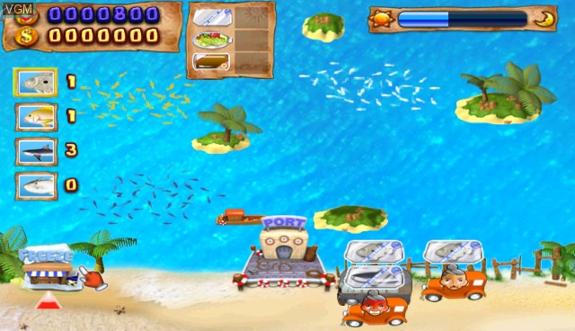 In-game screen of the game Offshore Tycoon on Nintendo Wii