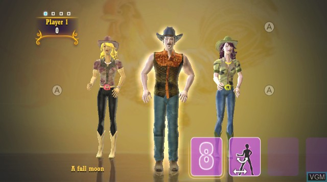 In-game screen of the game Country Dance 2 on Nintendo Wii