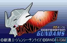 Title screen of the game SD Gundam G Generation - Mono-Eye Gundams on Bandai WonderSwan