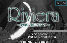 Title screen of the game Yakusoku no Chi Riviera on Bandai WonderSwan