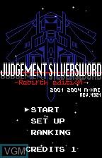 Title screen of the game Judgement Silversword - Rebirth Edition on Bandai WonderSwan
