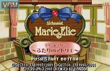 Title screen of the game Alchemist Marie & Elie - Futari no Atelier on Bandai WonderSwan