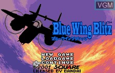 Title screen of the game Blue Wing Blitz on Bandai WonderSwan