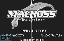 Title screen of the game Choujikuu Yousai Macross - True Love Song on Bandai WonderSwan