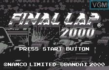 Title screen of the game Final Lap 2000 on Bandai WonderSwan