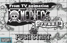 Title screen of the game From TV Animation - One Piece - Mezase Kaizoku Ou on Bandai WonderSwan