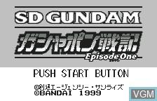 Title screen of the game SD Gundam Gashapon Senki - Episode 1 on Bandai WonderSwan