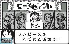 Menu screen of the game From TV Animation - One Piece - Mezase Kaizoku Ou on Bandai WonderSwan