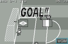 In-game screen of the game Soccer Yarou! - Challenge the World on Bandai WonderSwan