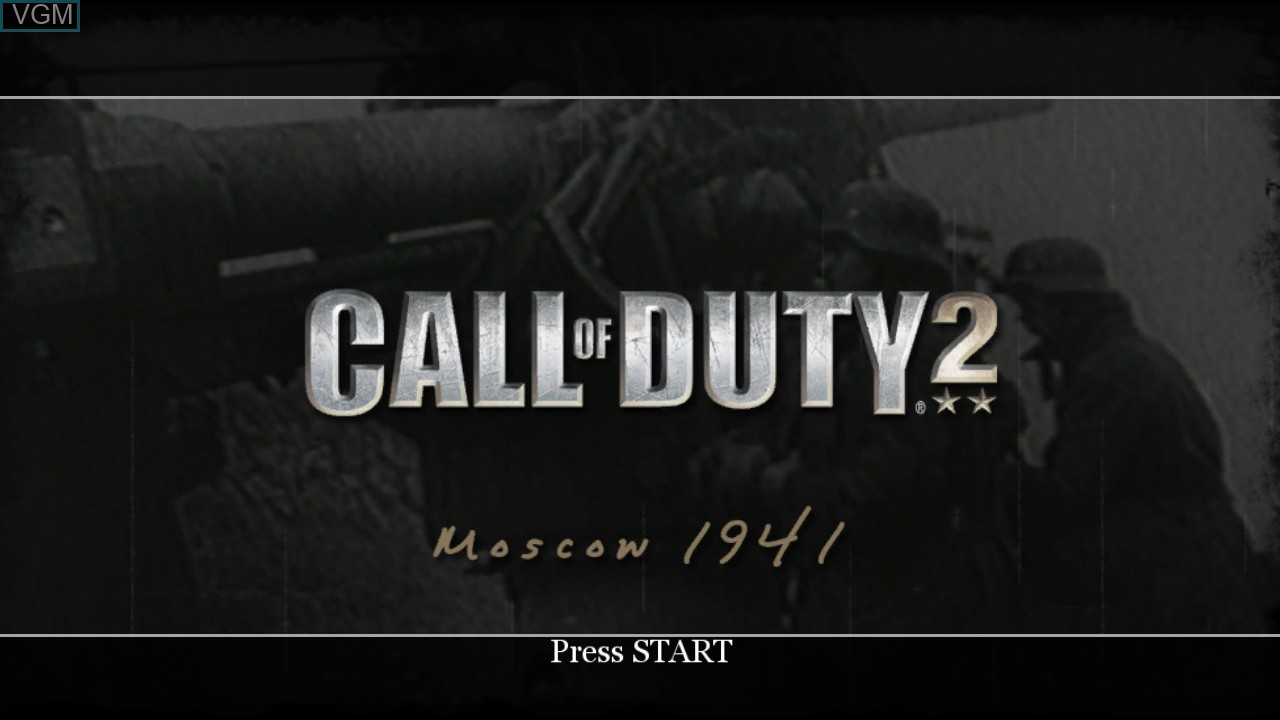 Title screen of the game Call of Duty 2 on Microsoft Xbox 360