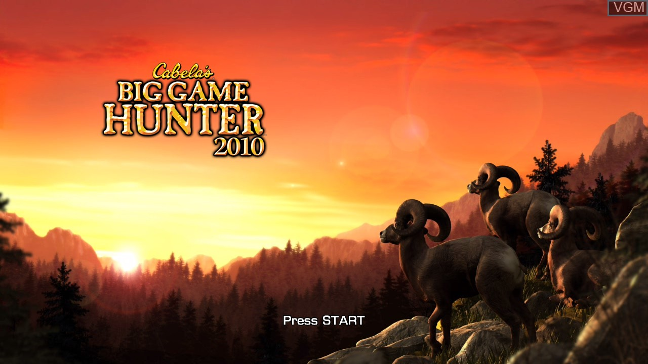 Title screen of the game Cabela's Big Game Hunter 2010 on Microsoft Xbox 360