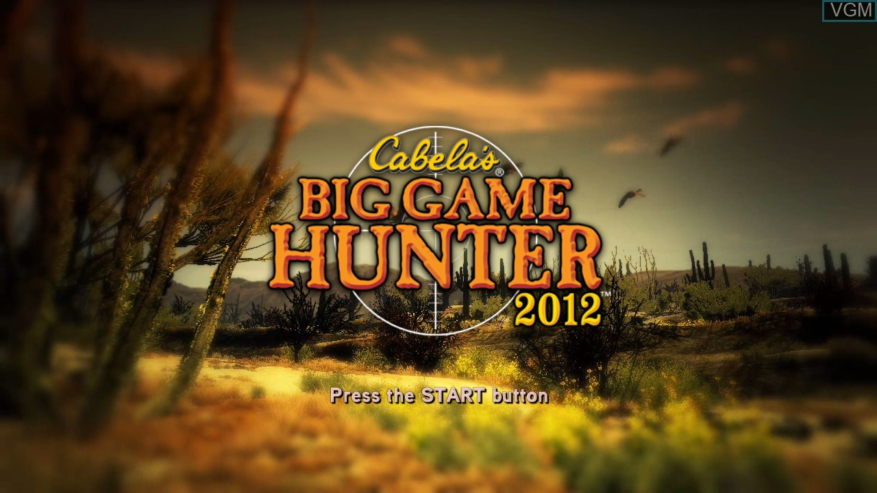 Title screen of the game Cabela's Big Game Hunter 2012 on Microsoft Xbox 360