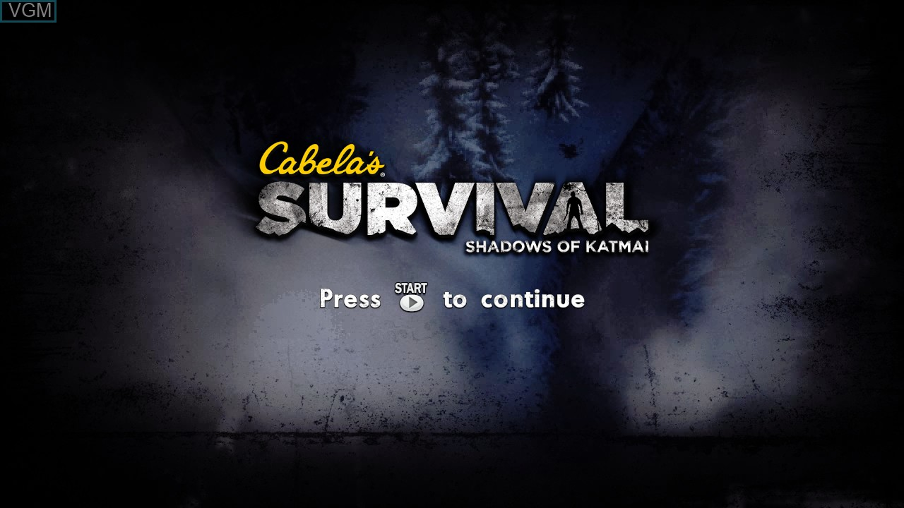 Title screen of the game Cabela's Survival - Shadows of Katmai on Microsoft Xbox 360