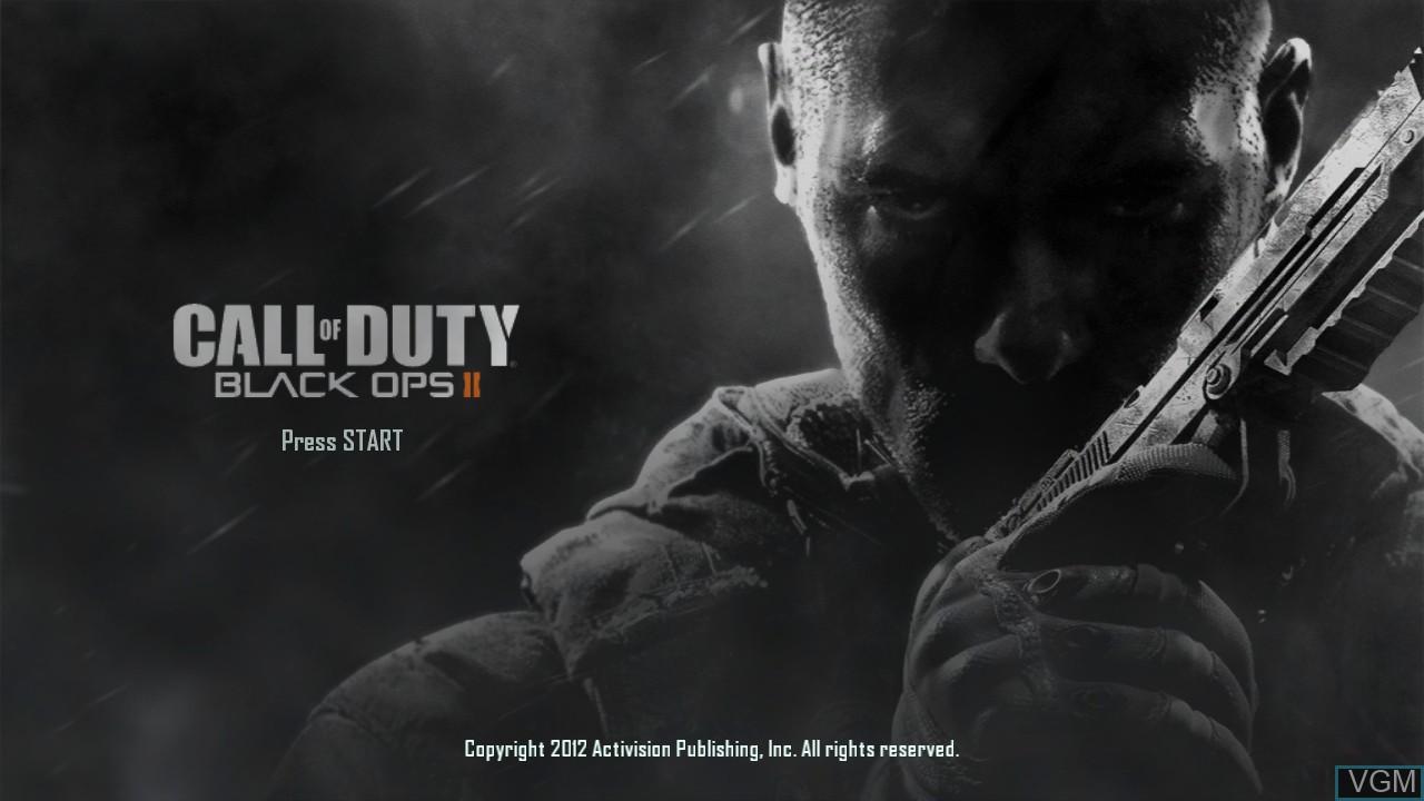 Title screen of the game Call of Duty - Black Ops II on Microsoft Xbox 360