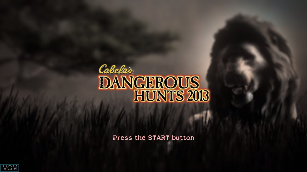 Title screen of the game Cabela's Dangerous Hunts 2013 on Microsoft Xbox 360