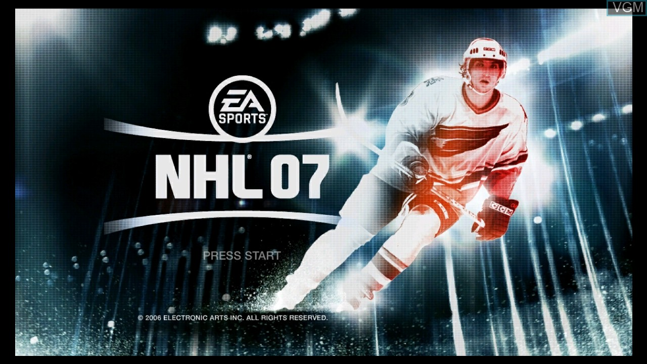 Title screen of the game NHL 07 on Microsoft Xbox 360