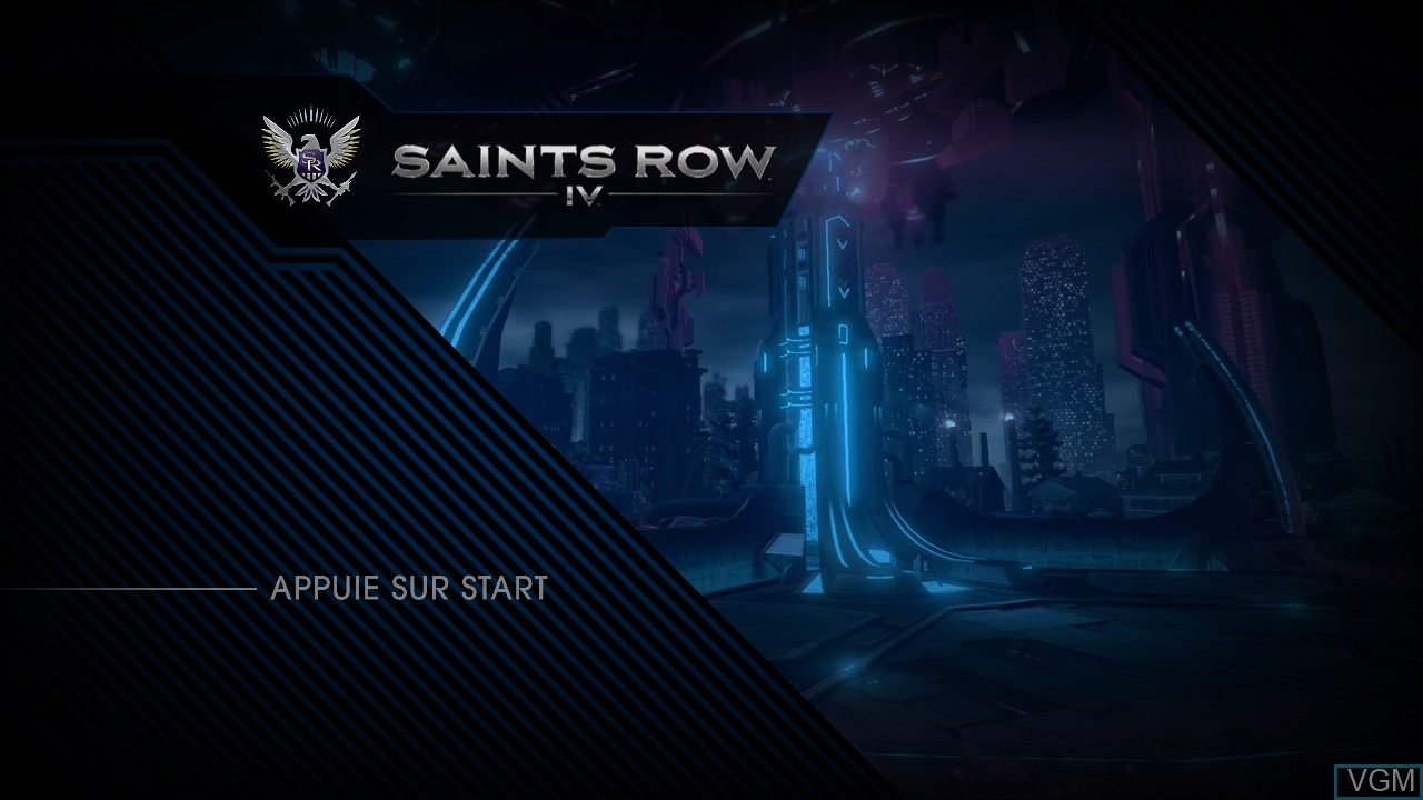 Title screen of the game Saints Row IV on Microsoft Xbox 360