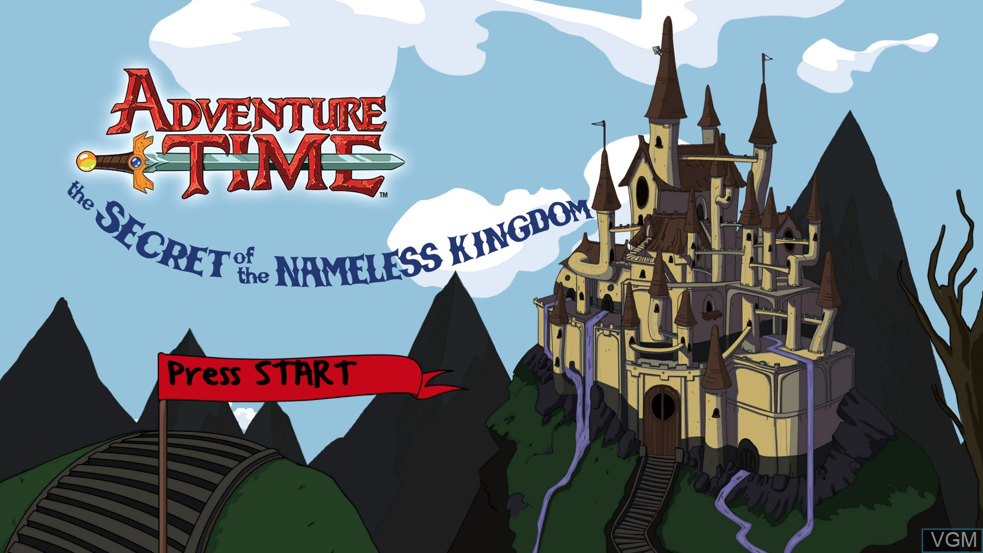 Title screen of the game Adventure Time - The Secret of the Nameless Kingdom on Microsoft Xbox 360