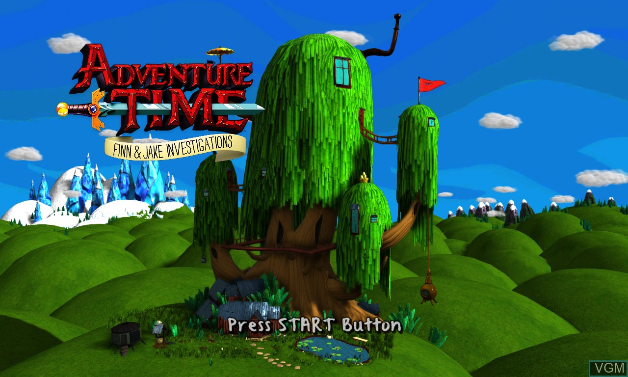 Title screen of the game Adventure Time - Finn and Jake Investigations on Microsoft Xbox 360