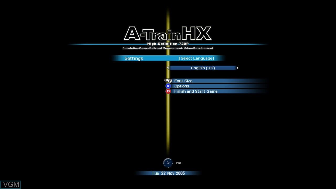 Title screen of the game A-Train HX on Microsoft Xbox 360