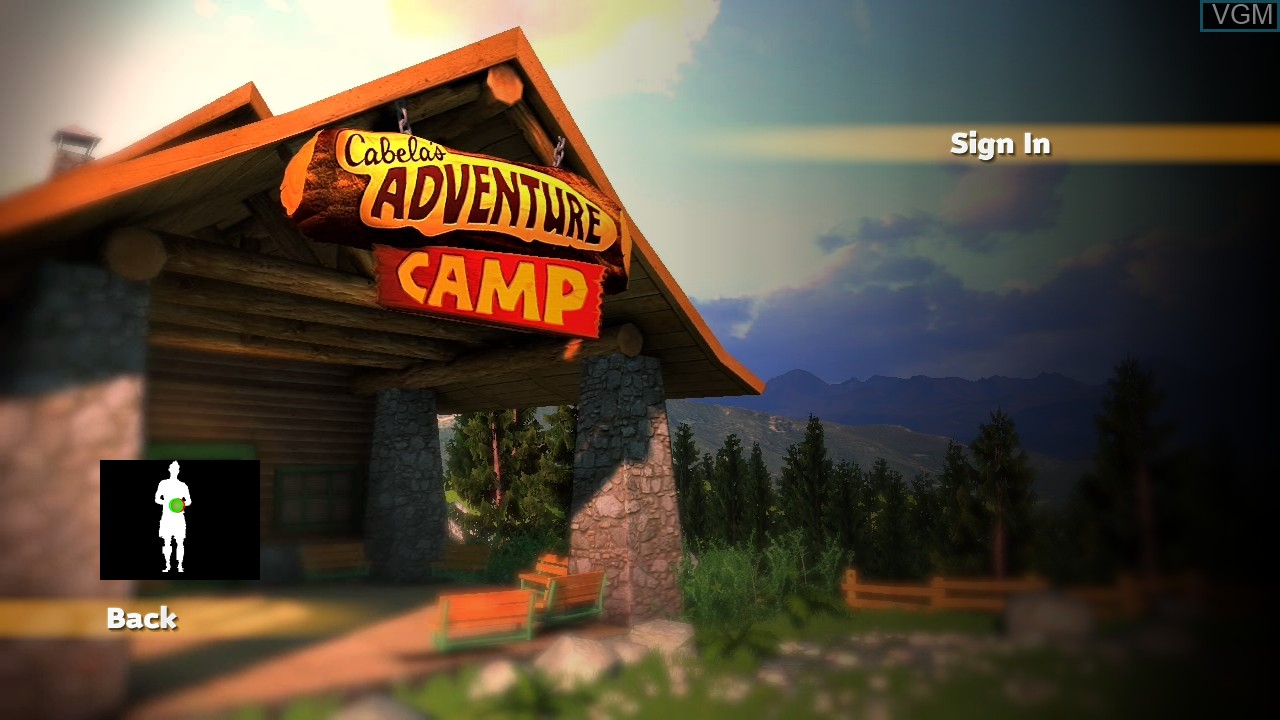 Title screen of the game Cabela's Adventure Camp on Microsoft Xbox 360