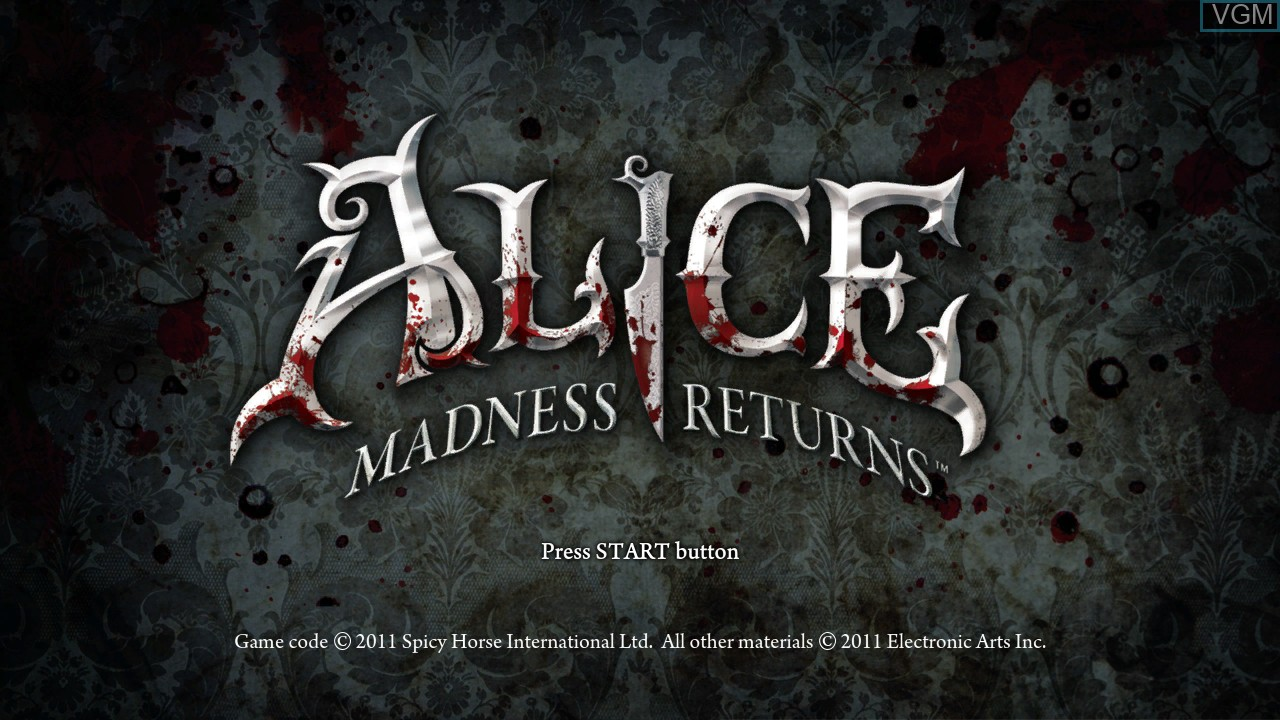 Title screen of the game Alice - Madness Returns on Microsoft Xbox 360