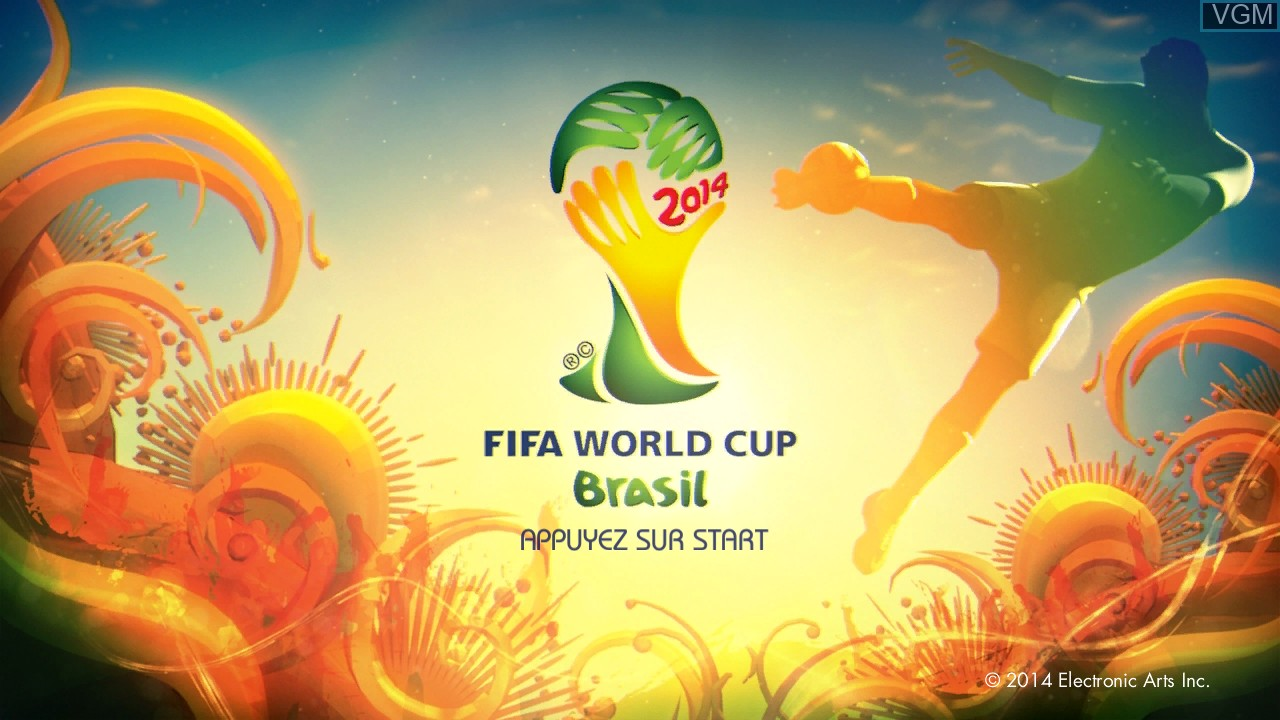 Title screen of the game 2014 FIFA World Cup Brazil on Microsoft Xbox 360
