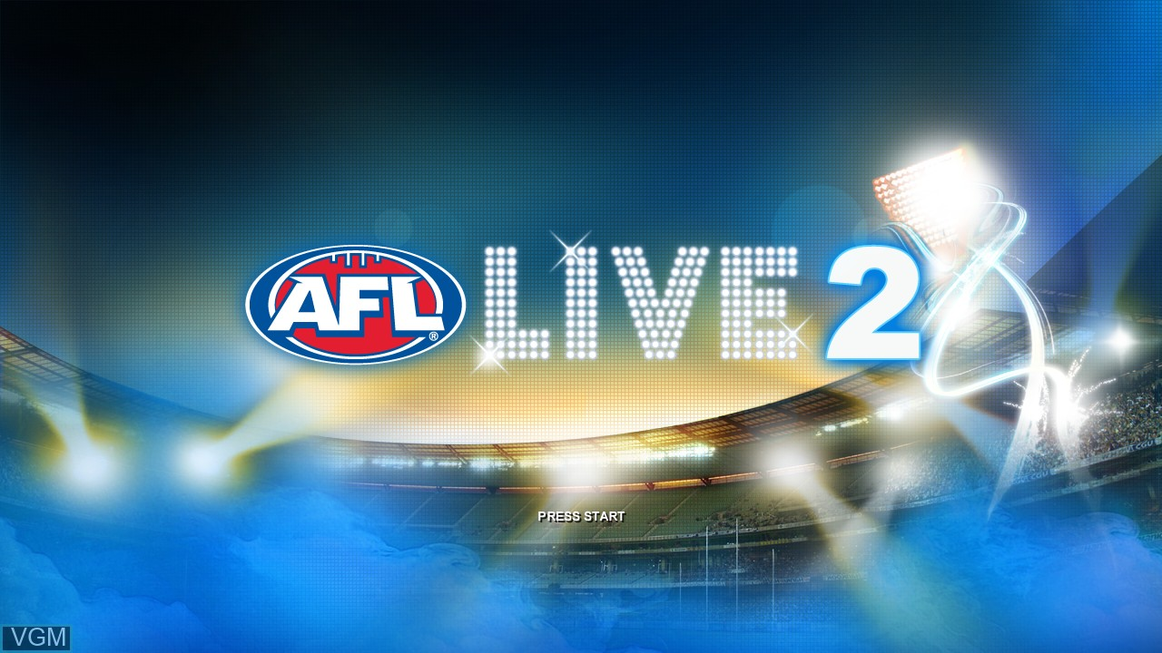 Title screen of the game AFL Live 2 on Microsoft Xbox 360