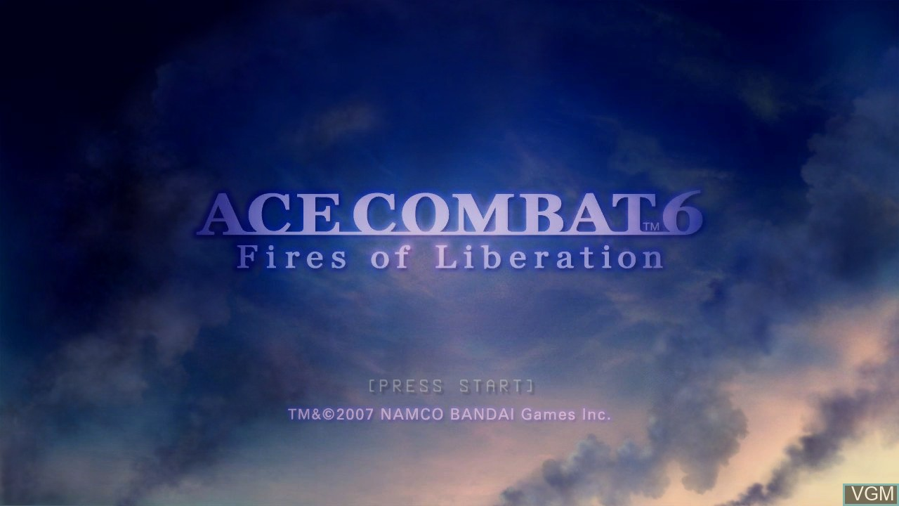 Title screen of the game Ace Combat 6 - Fires of Liberation on Microsoft Xbox 360