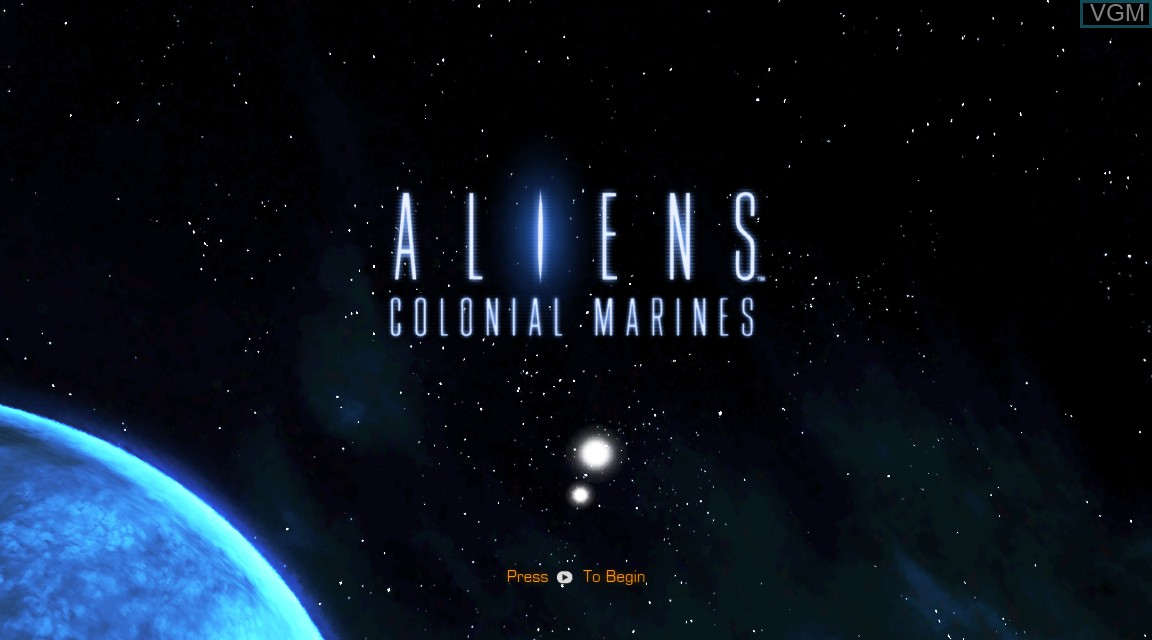 Title screen of the game Aliens - Colonial Marines on Microsoft Xbox 360