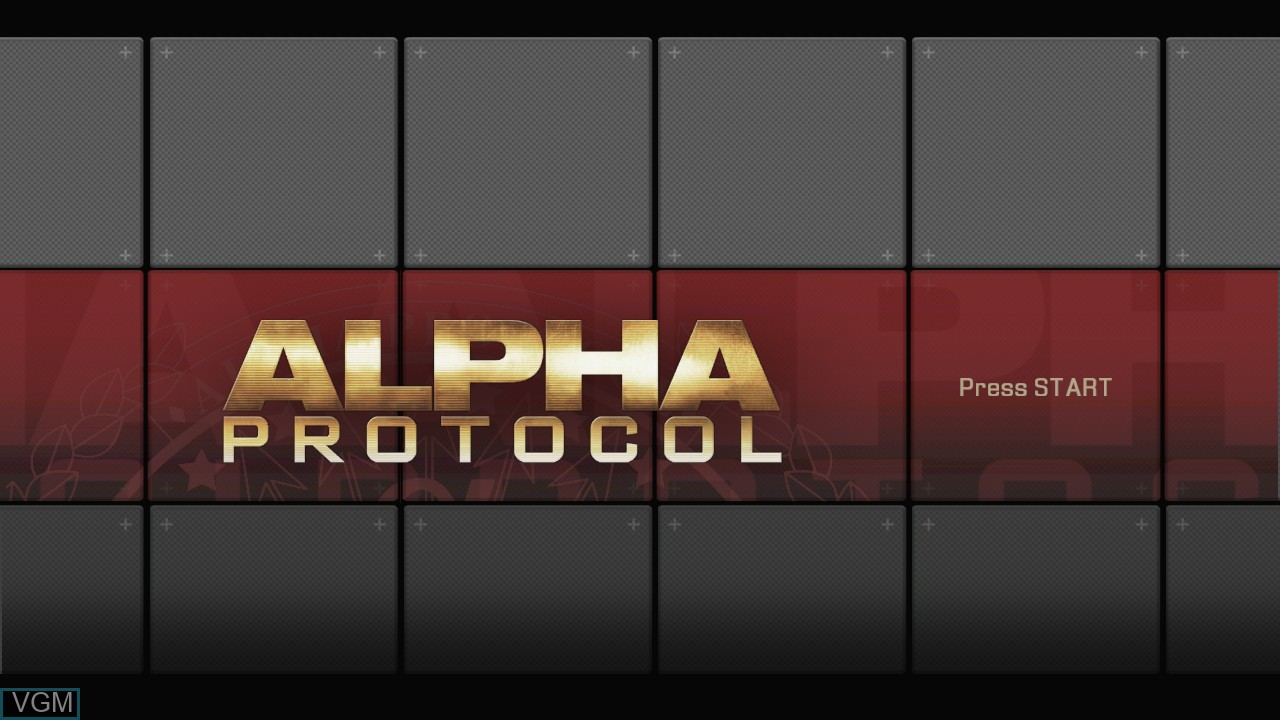 Title screen of the game Alpha Protocol on Microsoft Xbox 360