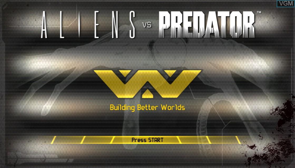 Title screen of the game Aliens vs. Predator on Microsoft Xbox 360