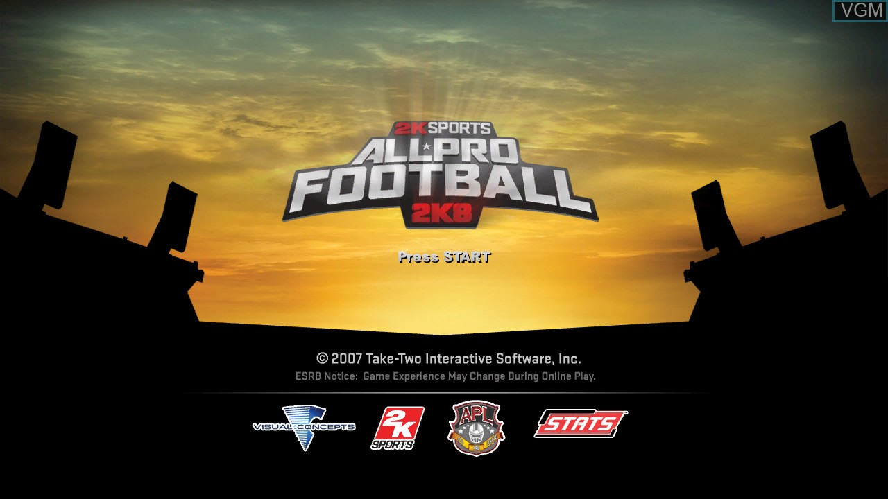 Title screen of the game All-Pro Football 2K8 on Microsoft Xbox 360