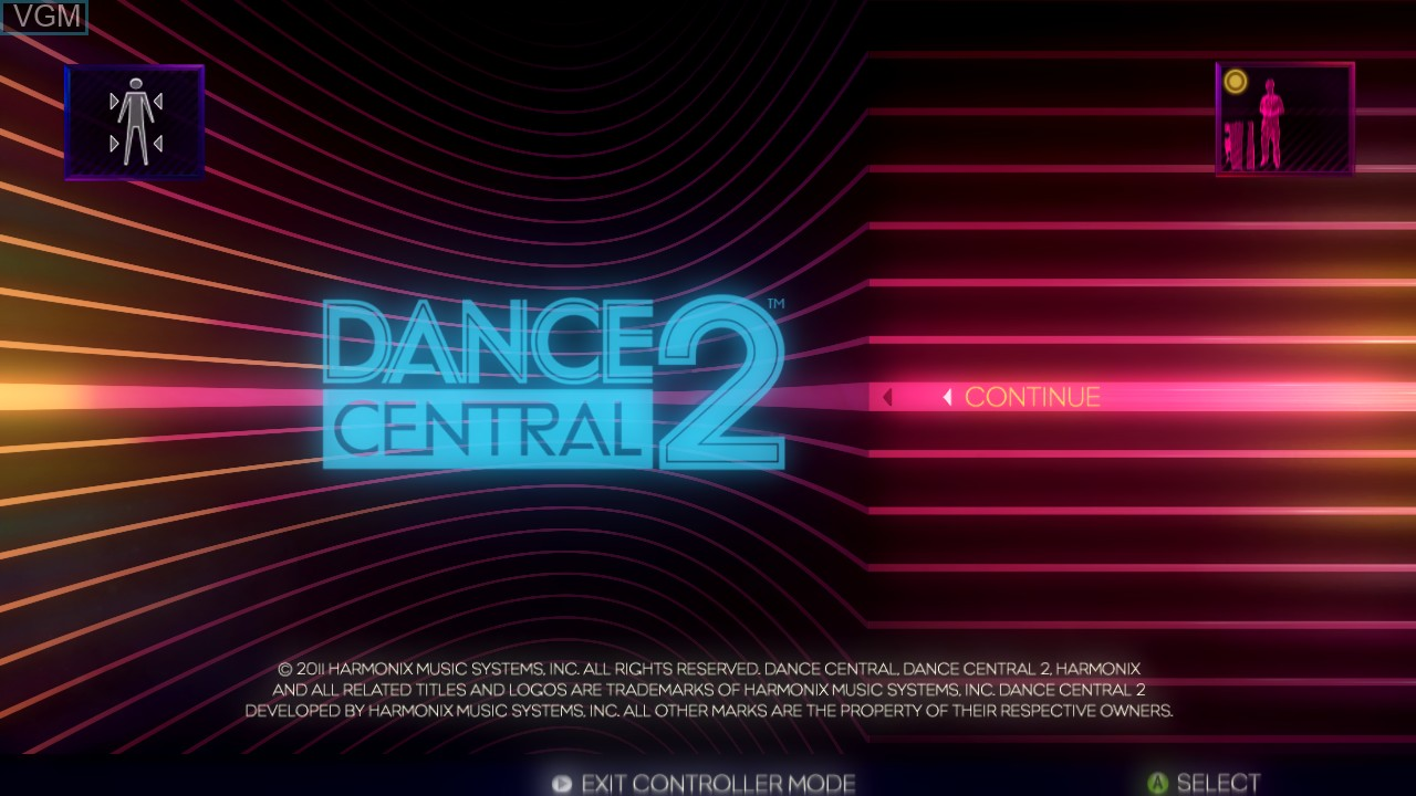 Title screen of the game Dance Central 2 on Microsoft Xbox 360