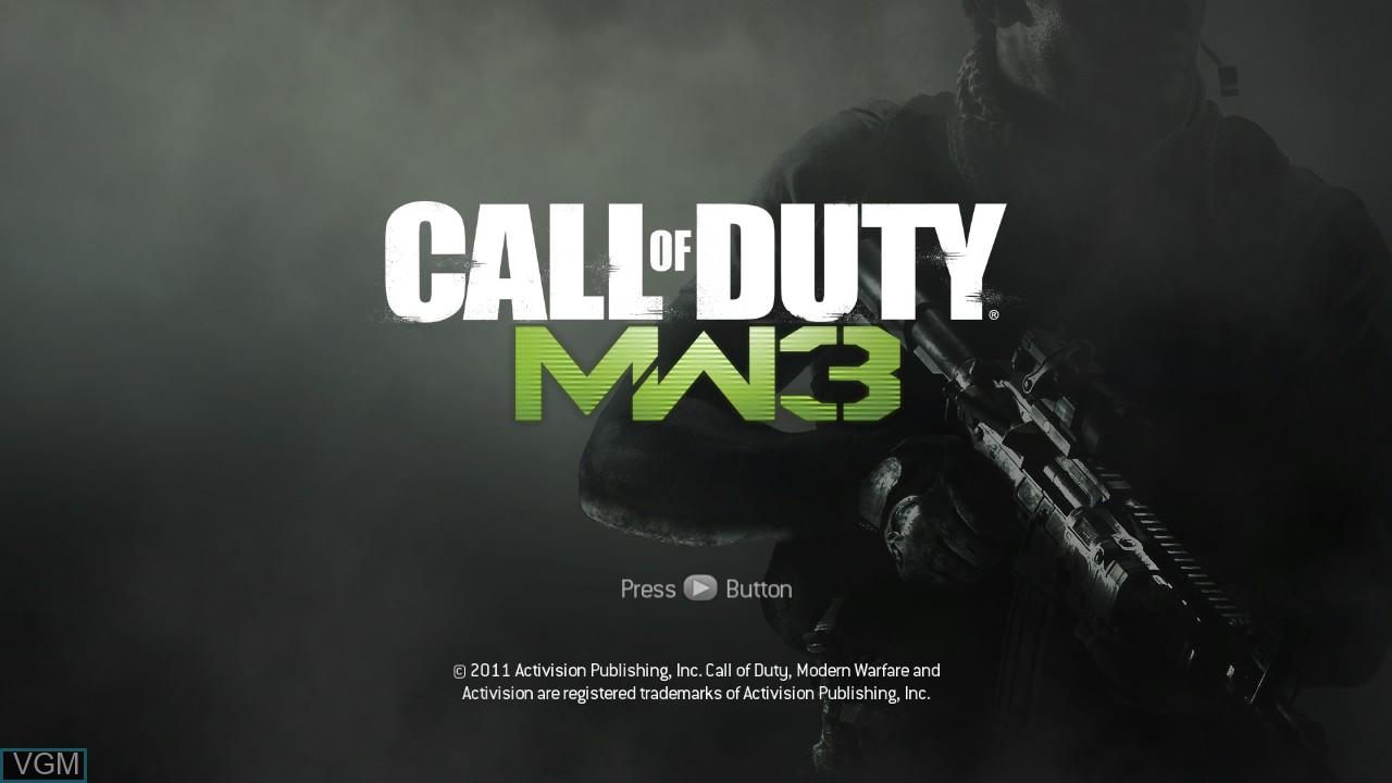 Title screen of the game Call of Duty - Modern Warfare 3 on Microsoft Xbox 360