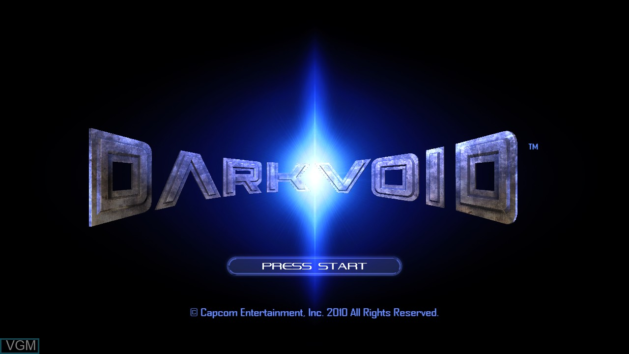 Title screen of the game Dark Void on Microsoft Xbox 360
