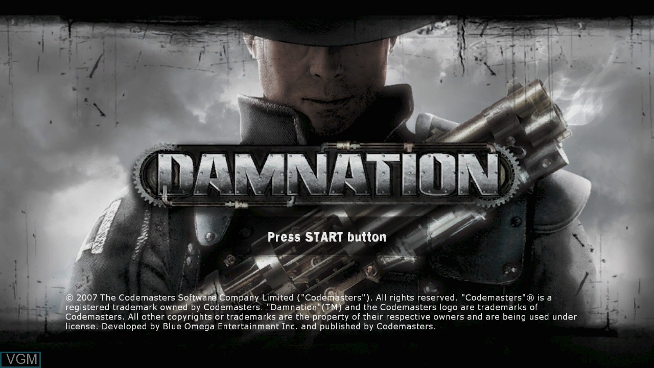 Title screen of the game Damnation on Microsoft Xbox 360
