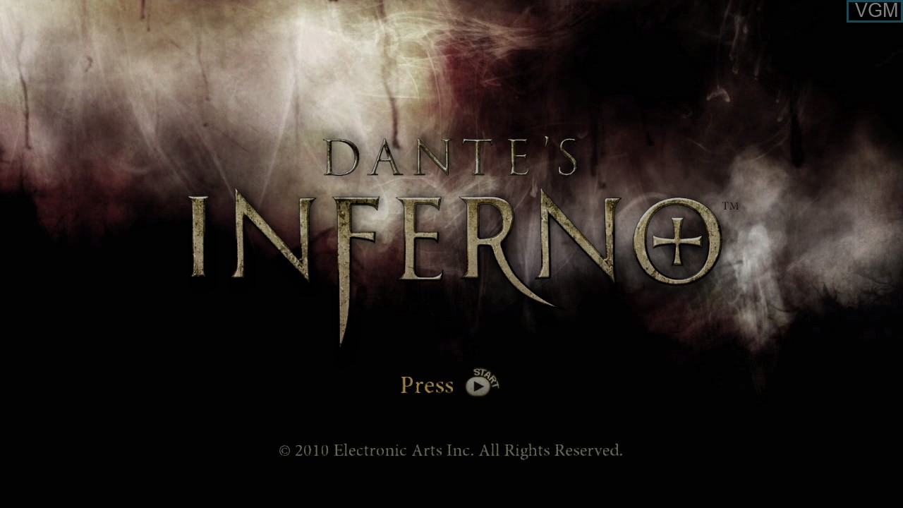 Title screen of the game Dante's Inferno on Microsoft Xbox 360