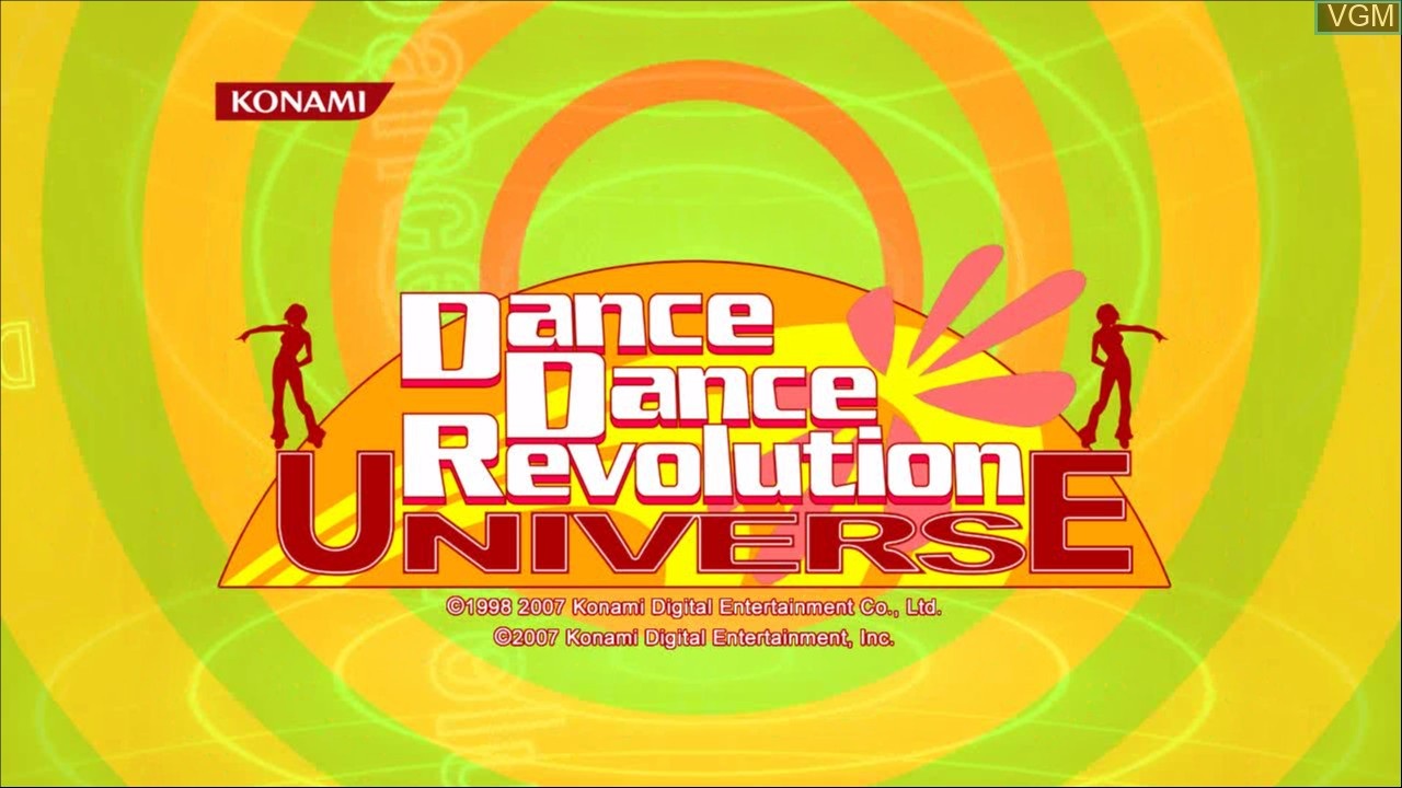 Title screen of the game Dance Dance Revolution Universe on Microsoft Xbox 360