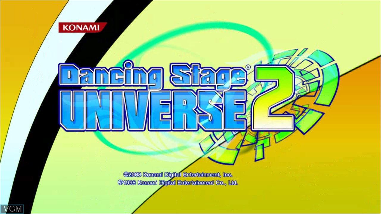 Title screen of the game Dance Dance Revolution Universe 2 on Microsoft Xbox 360