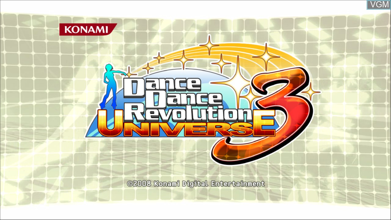 Title screen of the game Dance Dance Revolution Universe 3 on Microsoft Xbox 360