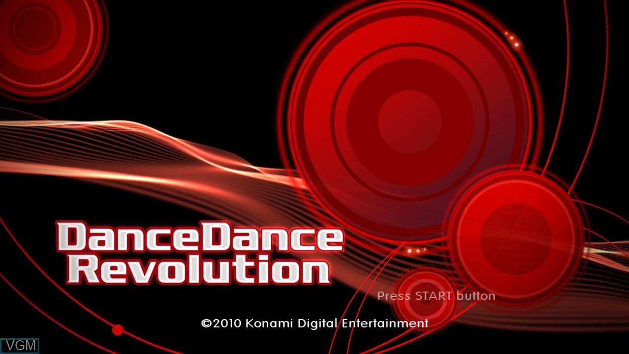Title screen of the game DanceDanceRevolution on Microsoft Xbox 360