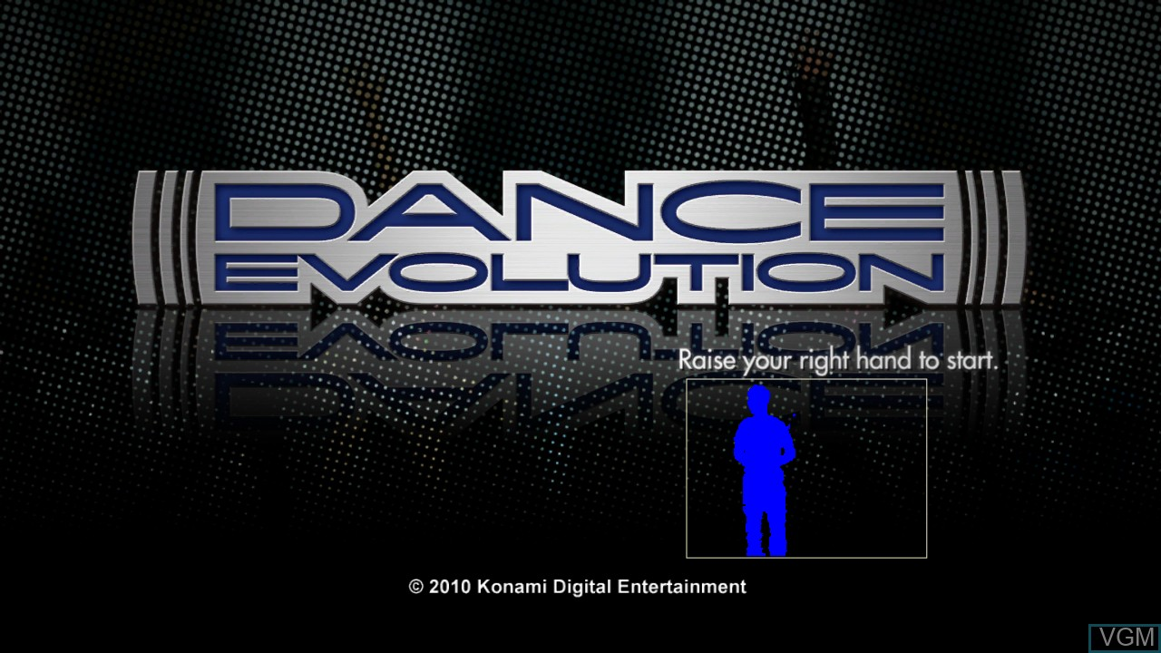 Title screen of the game DanceEvolution on Microsoft Xbox 360