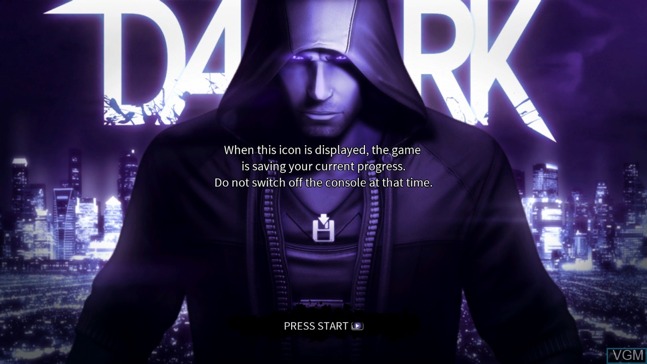 Title screen of the game DARK on Microsoft Xbox 360