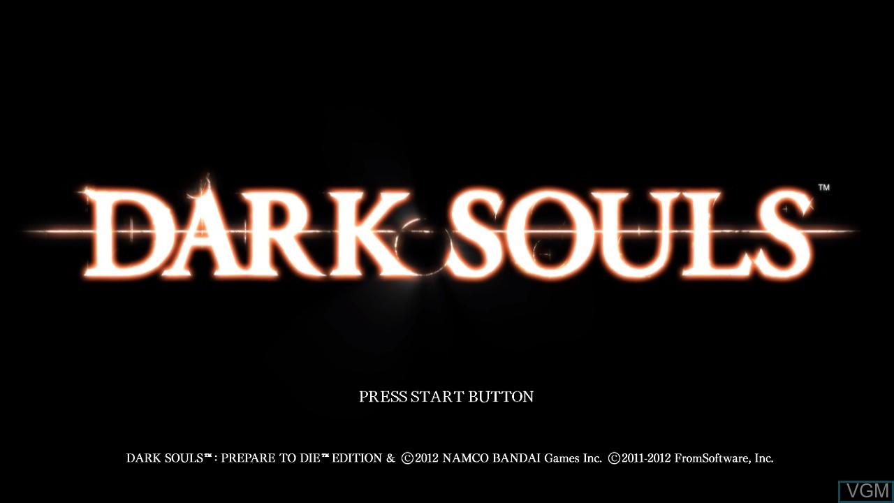 Title screen of the game Dark Souls on Microsoft Xbox 360