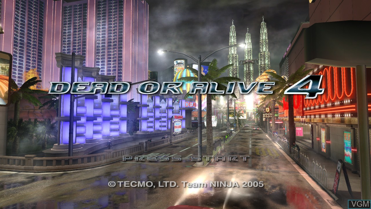 Title screen of the game Dead or Alive 4 on Microsoft Xbox 360