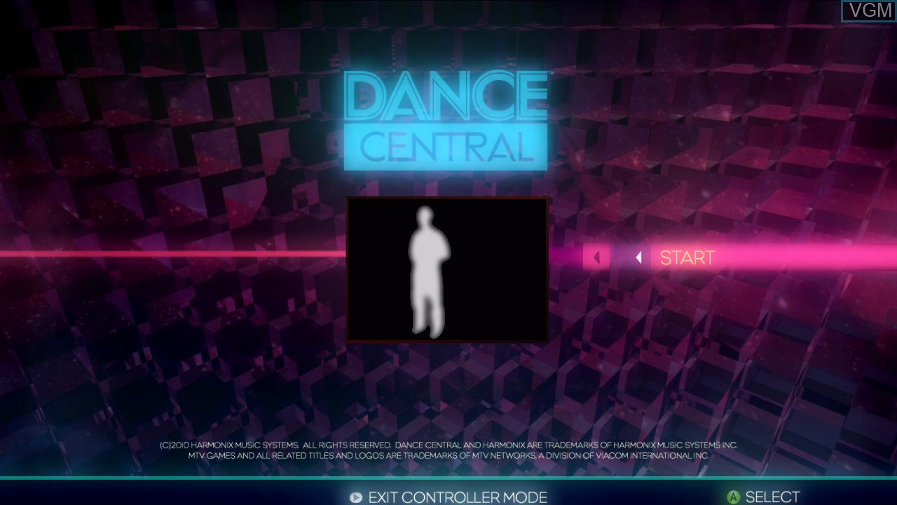 Title screen of the game Dance Central on Microsoft Xbox 360