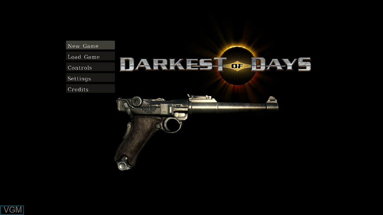 Title screen of the game Darkest of Days on Microsoft Xbox 360